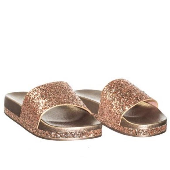 Mermaid Rose Gold Glitter Slides